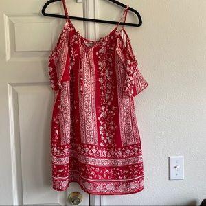 Charlotte Russe red cold shoulder dress